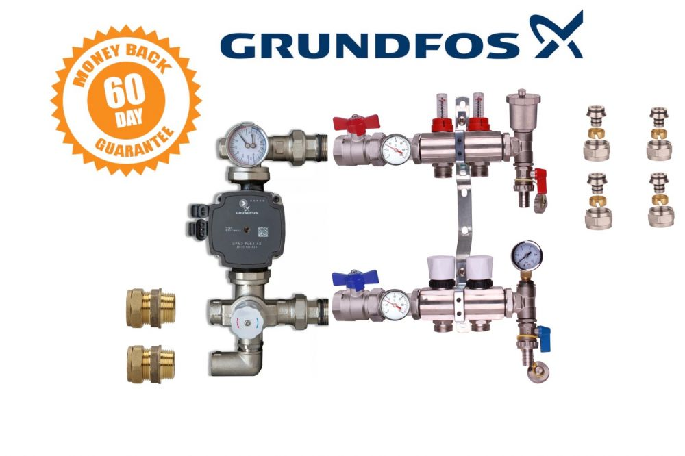 water underfloor heating manifold 2 port a rated grundfos pump kit